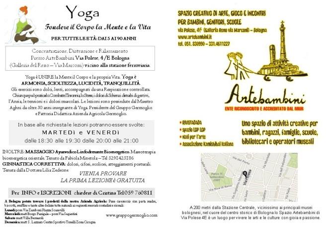 Pubblicità corsi Bologna yoga arte bimbi